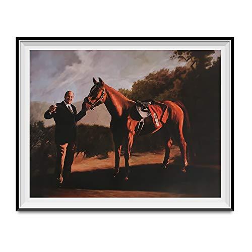 Tony Soprano and Pie-O-My Horse Painting Poster The Sopranos Race 18' x 24' Wall