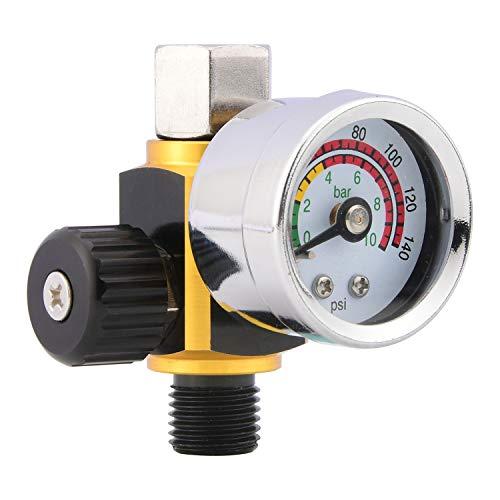 Alta calidad Regulador de presión de aire de la pistola de pulverización con manómetro (0-10 bar), control de flujo de aire Válvula de ajuste para herramientas neumáticas, 1/4