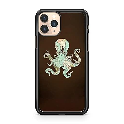 Funda para teléfono con diseño de mapa del mundo, cubierta de color elegante y fresco pulpo animal (modelo de teléfono: Huawei P8 Lite (2017))