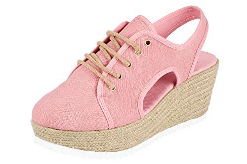 Heine Keil-Sandalette süße Damen Sandale mit Plateau-Sohle Sommer-Schuhe Rosa, Größenauswahl:39