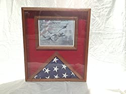 Image: Flag Display Case With Certificate Holder, Solid Mahogany Wood Clear Gloss Finish | Brand: Augie's Wood Crafts