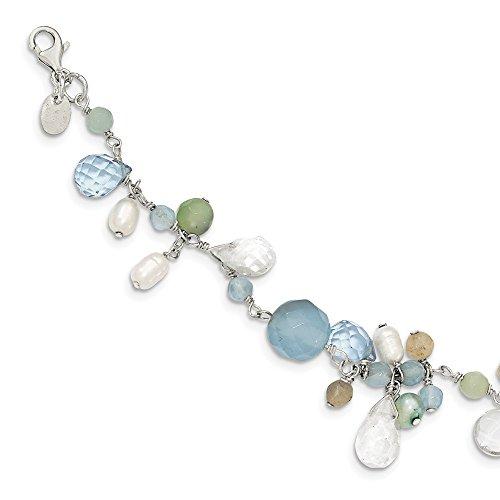 Diamond2Deal - Pulsera de plata de ley 925 con ágata de encaje, cristal de ópalo, perla de Amazonita, 19 cm