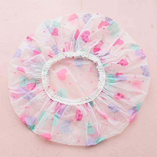 Ogquaton Bonnet de Douche imperméable Premium pour Femmes Floral élastique Bonnet de Douche Lady Salon Spa Grand Bonnet de Bain Ballon Violet