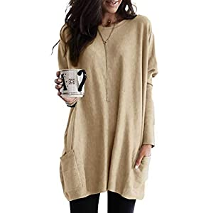 Women's Long Sleeve Crewneck Fall Tunic Tops Loose Fit Solid Long Shirt Blouses with Pockets