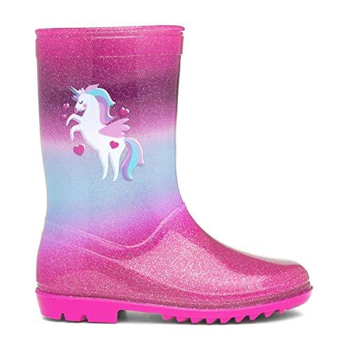Zone - Kids Pink & Blue Unicorn Glitter Wellington Boot - Size 11 Child UK - Multicolour