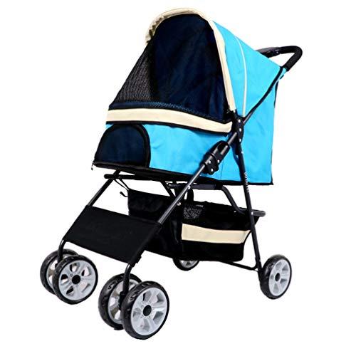 Buggy Hondenkinderwagen, hondenwagen, huisdier, drager, kat draagbaar, buiten, roadster, luxe voor puppy's oudere hond 3/4 wielen reis jogger Blue 4 wielen