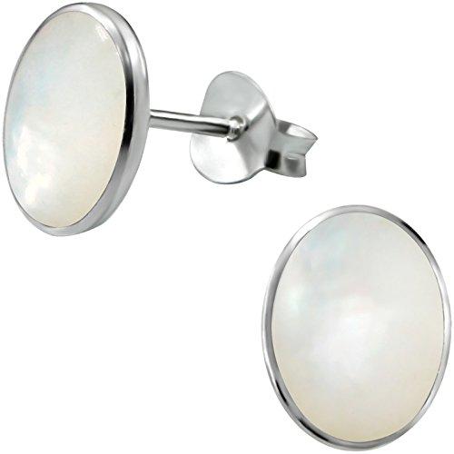 EYS JEWELRY Ohrstecker Damen Oval 925 Sterling Silber Perlmutt Muschel weiß Damen-Ohrringe