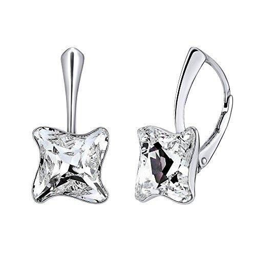 Silvego Damesoorbellen van 925 sterling zilver met helder Swarovski® Twister
