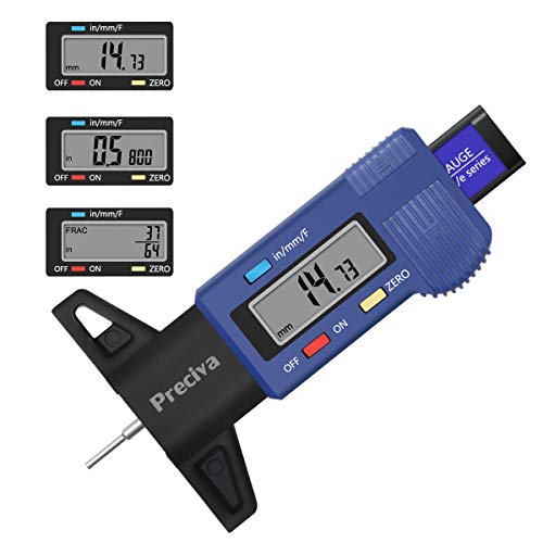 Preciva Tire Tread Depth Gauge, Digital Tire Gauge Meter Tester with Large LCD Screen of F/mm/inch Conversion for Cars Trucks and SUV