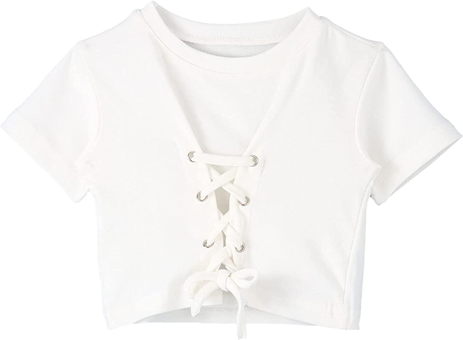 Agoky Kids Girls Cotton Cross Straps Crop Tee Shirts Plain Color Slim Short Sleeve T-Shirt Casual Athletic Sport Top