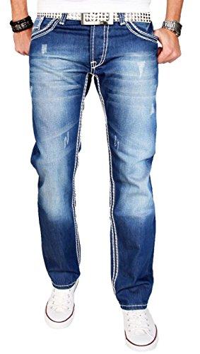 A. Salvarini Herren Designer Jeans Hose blau Stonewash Dicke Weisse Zier Nähte AS011 [AS011 - W36 L30]