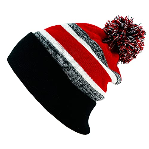 The Hat Depot Winter Soft Unisex Pom Pom Plain Knit Beanie Skully Hat (Black and Red with Pom)