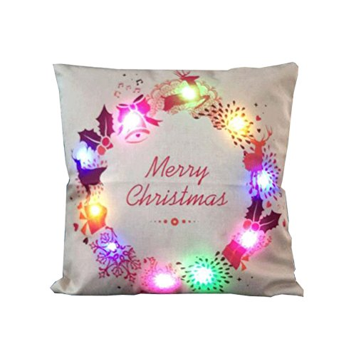 OULII Christmas Throw Pillow Covers Soft Linen Cushion Cases with LED Lights For Home Living Room Bedroom Office Christmas Decoration
