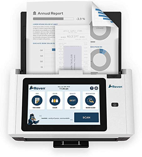 Raven Pro Document Scanner - Huge Touchscreen, High Speed Color Duplex Feeder (ADF), Wireless Scan to Cloud, WiFi, Ethernet, USB, Home or Office Desktop