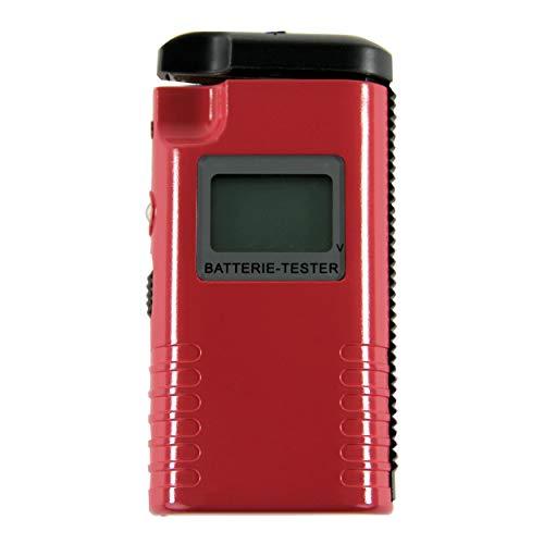 REV 0037329012 Batteriemessgerät, Batterietester 1,2V 1,5V 3V 9V - AAA, AA, C, D, Knopfz. PP3, rot