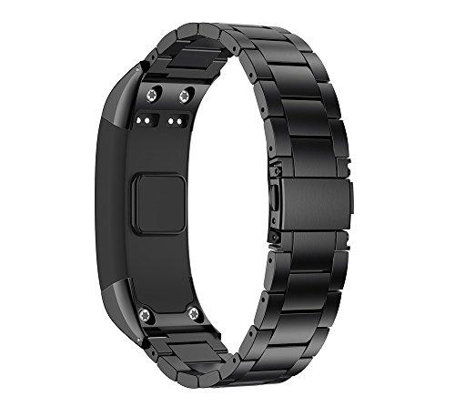 Snlaevx Ersatzarmbänder für Garmin vívosmart HR Armband, Rostfreier Stahl Gurt Uhrenarmband Verstellbares Ersatzband Metall Watch Band Armbänder für Garmin vívosmart HR (Schwarz)