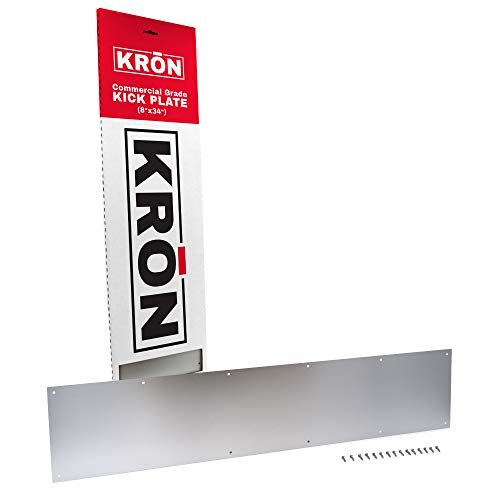 Door Kick Plate - Clear Anodized Aluminum Door Kick Plate 8 X 34 - Aluminum Plate for Wood or Metal Door - Door Plate Interior or Exterior Front Door or Back Door - and adds Scratch Protection.
