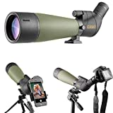 Gosky Updated Newest Spotting Scope - BAK4 Angled Scope for Target Shooting Hunting Bird Watching Wildlife Scenery with Smartphone Adatper and Camera Adapter Compatible with Nikon