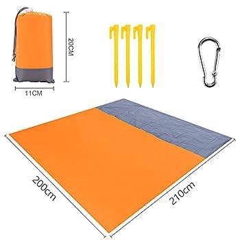 KIPIDA Couverture de Plage 200 x 210 cm, Anti-Sable, compacte, imperméable, avec Filet et 4 piquets, pour la Plage, la randonnée, Le Camping