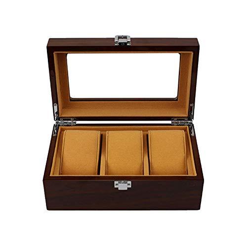 CARLAMPCR Uhrenbox/Holz Uhrenschatulle, Metallschloss/Glasplatte/Geeignet FüR Die Aufbewahrung Von Luxusuhren FüR Herren Und Damen (3 KartenfäCher)