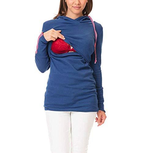 Damen Oberteil Für Schwangere Fashion Vintage Normallacks Longsleeve Mode Marken Umstands Still T Shirt Frauen Knopf Langes Zum Stillen Umstandstop (Color : Sky Blau, Size : M)