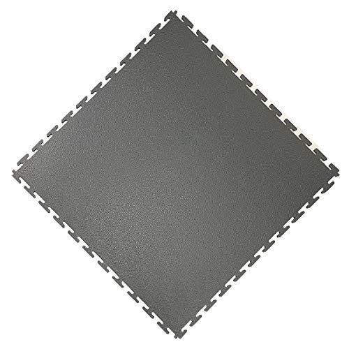 Vario24 PVC vloertegel 1 m2 (4 tegels), extreem belastbaar, vloerbedekking, garagevloer, industriële vloer, niet de Light versie (leder-donkergrijs)
