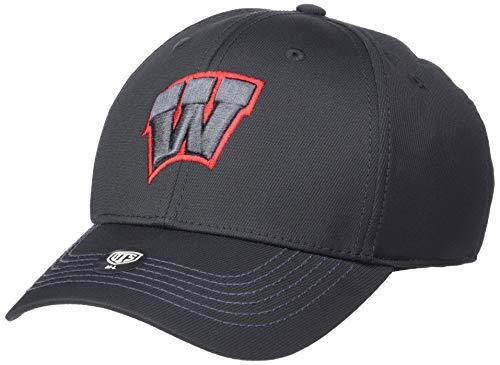 OTS NCAA Wisconsin Badgers Men's Wilder Center Stretch Fit Hat, Black, Medium/Large