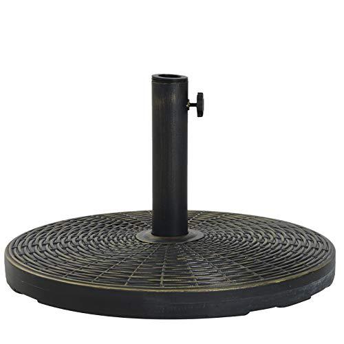 Outsunny Base de Sombrilla Ajustable Φ53x30cm Universal Pie de Parasol de Cemento Soporte de Sombrilla Redondo Estilo Retro HDPE Patio Jardín Playa