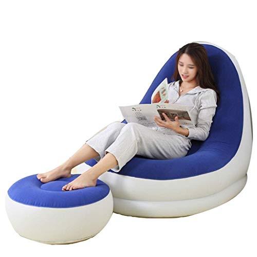 Giow Einzelner aufblasbarer Freizeit-Stuhl-Luftmatratzen-Latex-aufblasbarer Nichtstuer-faules Sofa-Haushalts-Mittagspausen-Stuhl + Fuß-Pumpe