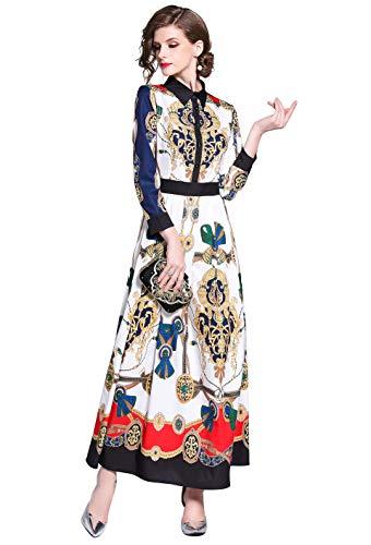 Women's Collared Baroque-Inspired Mixed Print Maxi Shirt Dress White