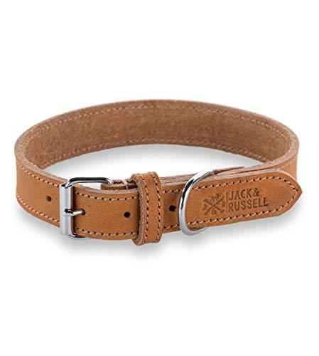 Jack & Russell Fettleder Hunde Leder Halsband Fat Tony - Lederhalsband aus Echtleder mit Original J&R Prägestempel - Fat Tony (M)