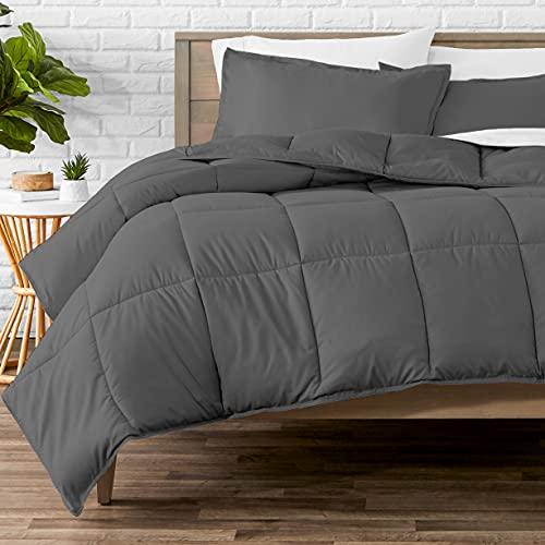 Bare Home Comforter Set - Oversized King - Goose Down Alternative - Ultra-Soft - Premium 1800 Series - All Season Warmth (Oversized King, Grey)