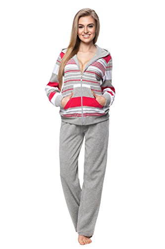 DOROTA kuscheliger und moderner Baumwoll-Hausanzug mit Taschen, Reißverschluss & Kapuze, grau-Himbeere, Gr. M
