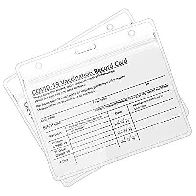 CDC Vaccination Card Protector 4 X 3 Inches Immunization Record Vaccine Cards Holder Clear Vinyl Plastic Sleeve with Waterproof Type Resealable Zip (2 Packs)