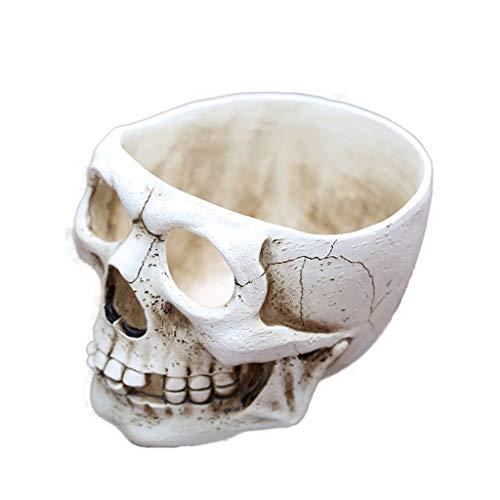 LXLTL Maceta de Cabeza de Calavera, Resina Calavera de Halloween Figura Maceta macetero escenas decoración Cuenco de Caramelo 3 Piezas