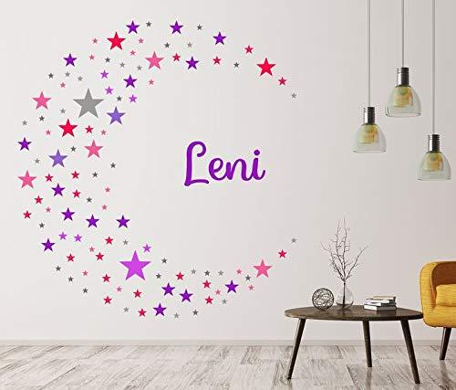 Wandtattoo Set 130 Sterne Name Leni Girl Mädchen Kind Wand Aufkleber sticker bunt Wandbild Wandsticker deko Kinderzimmer 11NS132