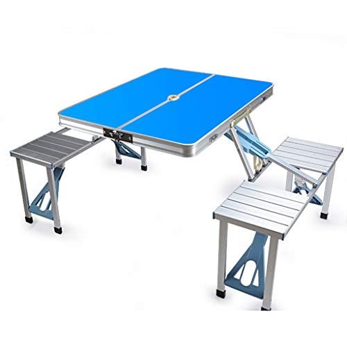 Multifonctionnel Portable Camping En Plein Air Barbecue Camping En Aluminium Pliant Table De Pique-Nique En Plein Air Table De Bureau Tabouret (Color : Blue)