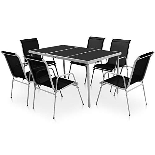 vidaXL Juego de Comedor de Jardín 7 Piezas Negro Mesa Silla Muebles Exterior