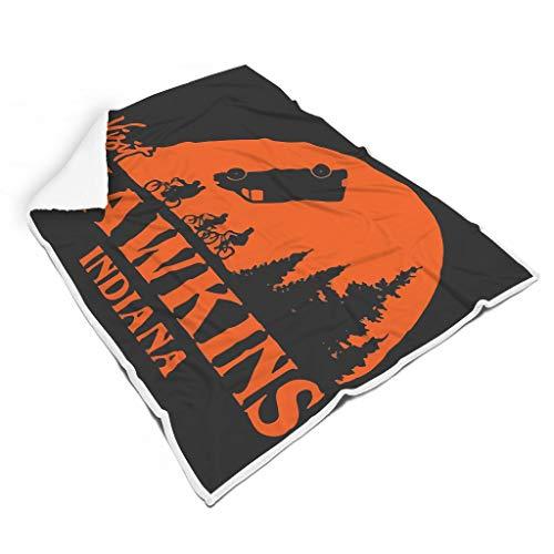 STBlanketshop Weich Shaggy Decke Werfen Lustige Orange Besuchen Hawkins Indiana Moon Night Kunstwerk...
