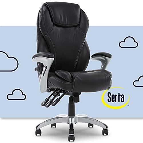 Serta Executive Adjustable Office Chair, Ergonomic Leather Computer Chair with Layered Memory Foam Pillows, Contoured Lumbar, Pillowed Headrest
