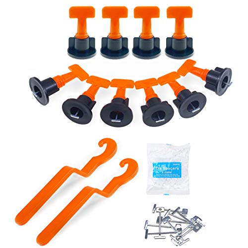Tile Leveler Spacers Reusable,Tile Leveling System Kit with 2mm Tile Spacers,Special Wrenches, and 1/16 Spare Steel Pin (100 Pcs)