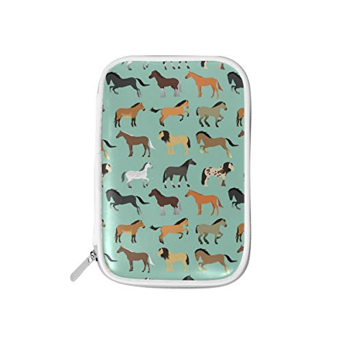 MERRYSUGAR Big Pencil Case Horse Animal Cute Cute Pencil Pouch Bag Pencil Holder with Zipper for Girls Boys School Office Supplies Makeup Pourch PU Leather