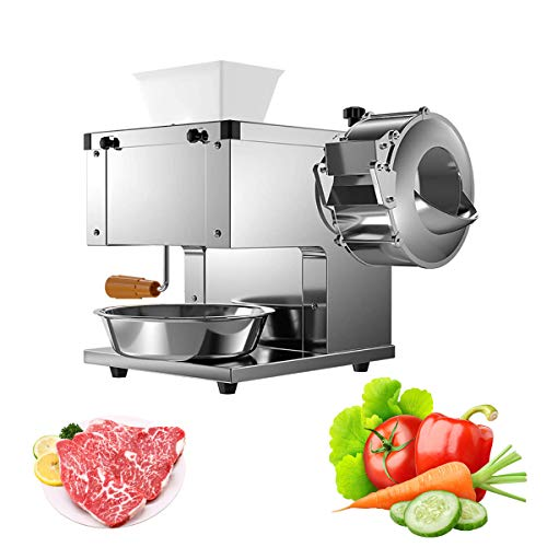 2-in-1 Stainless Steel Meat Slicer Commercial Meat and Vegetable Cutting Machine,850W Commercial Electric Slicer Cut Fish Fillets Fully Automatic Vegetable Cutting/Ground Meat