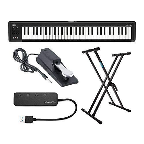 KORG microKEY 61-Key Compact MIDI Keyboard Bundle with Knox Gear Double-X Keyboard Stand, Sustain Pedal, 4-Port USB Hub (4 Items)
