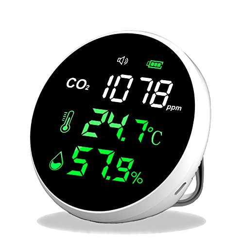 CO2 Messgerät,CO2 Melder,BAMBOOST Raumluft Luftgütemonitor mit Temperatur und Luftfeuchtigkeit,400~5000 ppm,Akustisches Warnsystem,USB-Kabel,Akku hält 30 Stunden,LED-Anzeige,NDIR Sensorchip