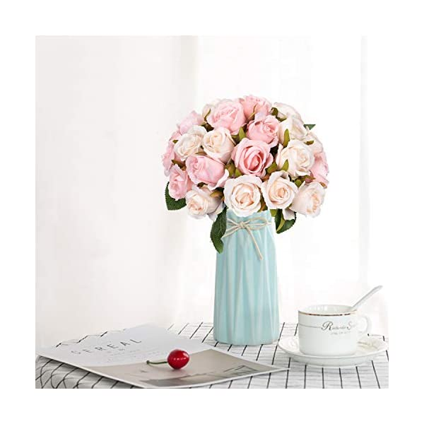 Maustic – Ramo de rosas artificiales con 24 cabezas de rosas falsificadas, rosas artificiales para manualidades, bodas…