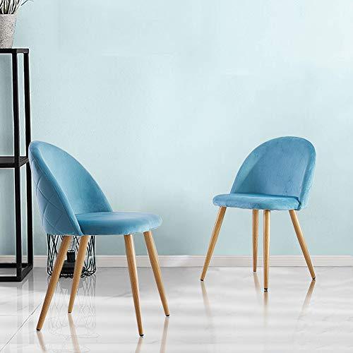 Juego de 2 sillas de comedor tapizadas de terciopelo con respaldo y patas de transferencia de metal para comedor, la sala de estar y el dormitorio, terciopelo, azul, 46*46*77 cm