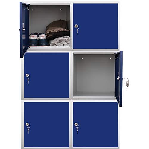 newpo Mega Deal | 6x Schließfachwürfel | HxBxT 35 x 35 x 35 cm | Blau - Garderobe Schließfach Schließfachschrank Schließwürfel