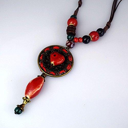 Axiba Broderie Grand Collier Fine Bijoux Faits Main Accessoires vestimentaires de chaîne Pull en Tricot Cadeaux de Vacances