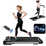 2 in 1 Folding Treadmill,Portable Under Desk Electric Treadmill, Foldable Running Machine with Bluetooth Speaker Remote Control and LED Display, Walking Jogging for Home,Installation-Free
